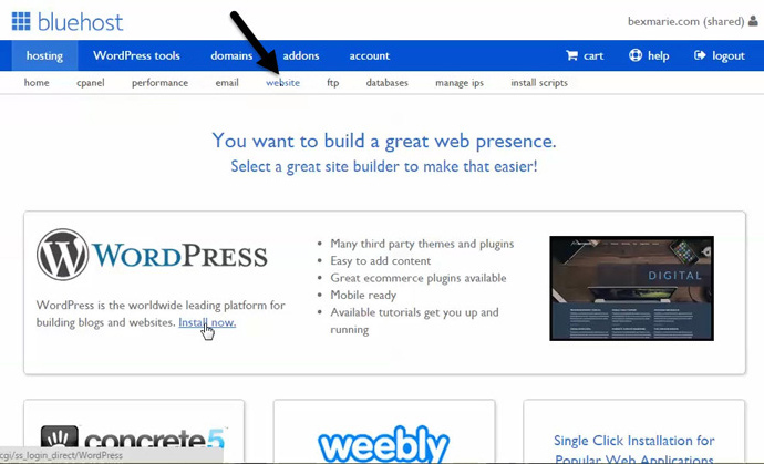 install your wordpress website