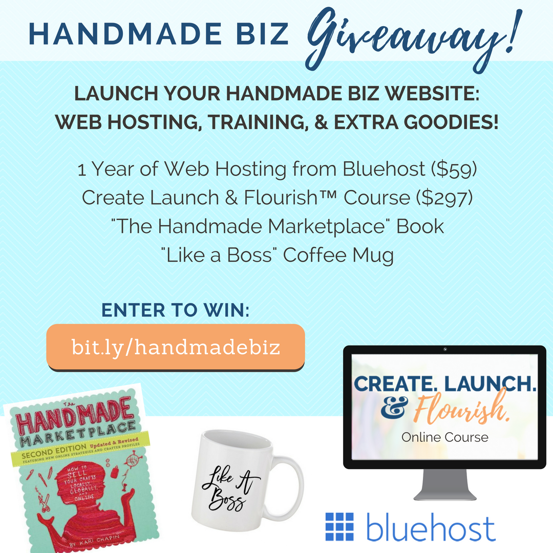 Handmade Biz Giveaway - Web Hosting, DIY Website Course, Handmade Marketplace book, Like A Boss coffee mug. Enter http://bit.ly/handmadebiz