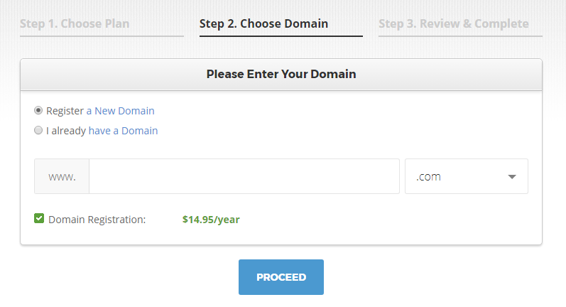 Screenshot: SiteGround Signup - Domain