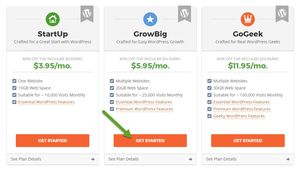 Screenshot: SiteGround Hosting Plan Options